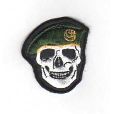 Nášivka Lebka s baretem - zelená