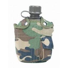 US polní láhev s obalem - zelená, maskovací, černá